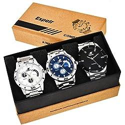 Espoir Combo of 3 Analogue Multicolor Dial Mens Watches-Combo 109 Espoir Bahubali