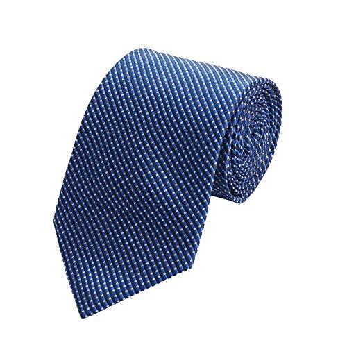 Chillify Krawatte Herren für Arbeit, Hochzeit, Business - feines Muster, dunkelblau
