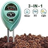 Bodentester Surenhap 3-in-1 Bodentester digitales Bodenmessgerät Feuchtigkeitsmessgerät Rasenpflege, Licht- und pH-Säuretester, Pflanze Tester für Garten, Landwirtschaft, Rasen(ohne Batterie)