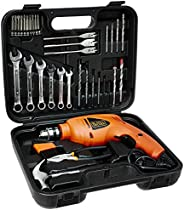 BLACK+DECKER HD455KA 10mm 550 Watt Impact Drill Kit, Engineered Plastic (Orange, 41-Pieces)