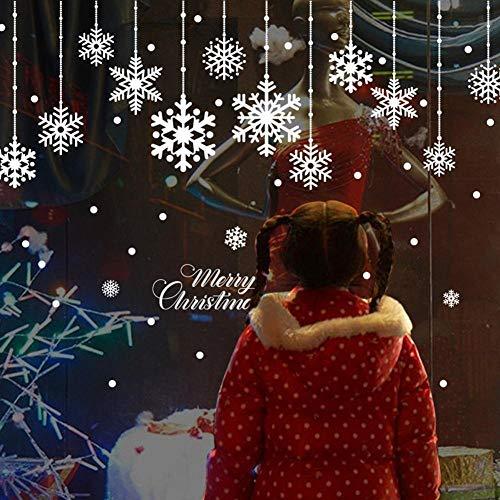 SUN-YUANYI Copo de Nieve de Navidad Etiqueta de la pared extraíble Ventana de vidrio Inicio Tienda Etiqueta de la pared de Navidad Decoración Caliente