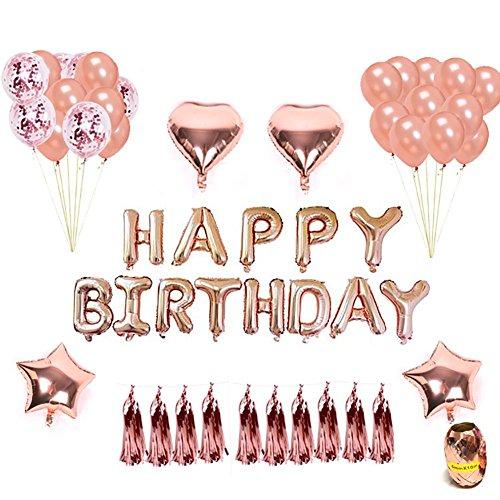 Hifuture - Juego de globos de helio para cumpleaños, diseño de estrellas de corazón, con texto en inglés'Happy Birthday Banners and Balloons', color oro rosa