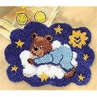 6 Modell Bär Knüpfteppich Formteppich für Kinder und Erwachsene zum Selber Knüpfen Teppich Latch Hook Kit child Rug Bear002 53 by 38 cm
