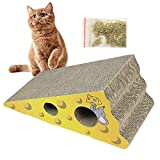 Aolvo inclina tiragraffi per formaggio a forma di cartone con Catnip, Natural Cat Scratching Mat Pad in cartone, più ergonomico, aiuta ad alleviare l' ansia, 1confezione Catnip incluso, ritagli per nascondere giocattoli