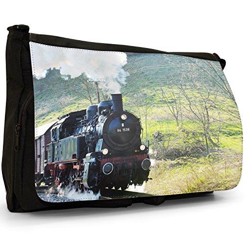 Treno a vapore, misura grande, colore: nero, Borsa Messenger-Borsa a tracolla in tela, borsa per Laptop, scuola Nero (Black Steam Train)
