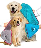 Dolphin & Dog® - Dog Towel -TWIN PACK - Super Absorbent Dog Towels, Pet Towel, Dog Microfibre Drying Towel, with Hand Pockets - 36-inch x 12-inch - Pet towel - Quick Drying and Machine Washable