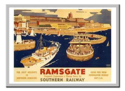 Ramsgate Rail Reise Print 1930er Silber gerahmt–41x 31cms (ca. 40,6x 30,5cm) (Rail Gerahmt)