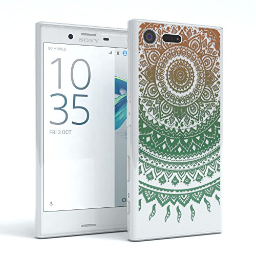 """Sony Xperia X Compact Hülle - EAZY CASE Slimcover """"Clear"""" Handyhülle - Schutzhülle als Smartphone Case in Transparent Henna Gold / Grün"""
