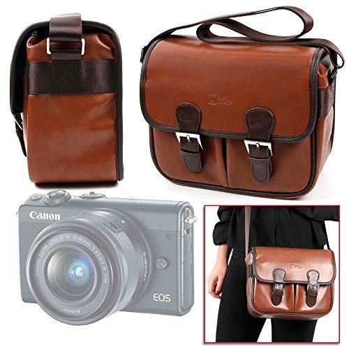 Duragadget borsa vintage per fotocamera canon eos m100   pentax kp   polaroid onestep 600   sony a7, ilce-7   a7 ii   alpha a7r iii - con tracolla regolabile - alta qualità
