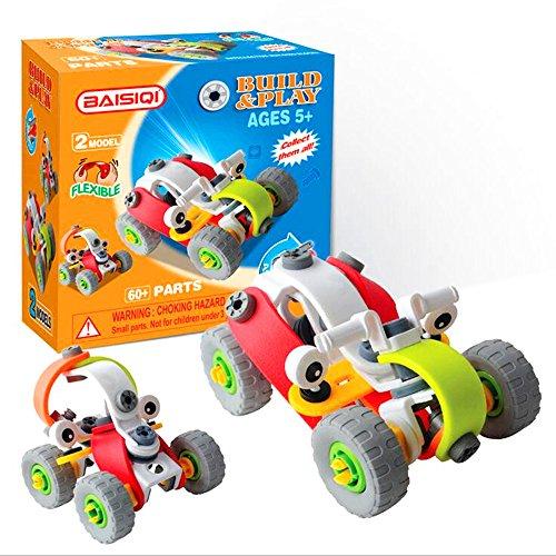 Saflyse 2016 --- 5 verschiedene Modelle DIY 3D-Intelligenz pädagogische Spielzeug Bau Kunststoff Flexible Bausteine Mutter Montage Demontage Spielzeug-Bausteine Bau Puzzles, Geben Sie Ihrem Kind (Fliegende Auto) (Modell-autos Bauen)