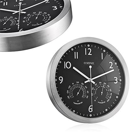 Pendule Murale COZIME Horloge de Paroi Cadre en Métal de 12 Pouces Horloge Murale Silencieuse Horloge Ronde Décorative avec Thermomètre Gauche Droit Hygromètre Affichage Multifonction (Noir(12inch))