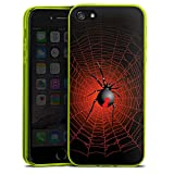 Apple iPhone 5 Slim Case transparent neon grün Silikon Hülle Schutzhülle Spinne Spider Netz