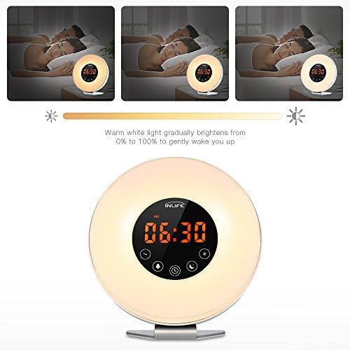 INLIFE Wake Up Light Despertador de Luz con 7 Colores Ajustables 7 Sonidos Naturales y 10 Intensidades de Luz Radio FM Control Táctil Función de Snooze Simulación de Amanecer y Atardecer Cargador de USB