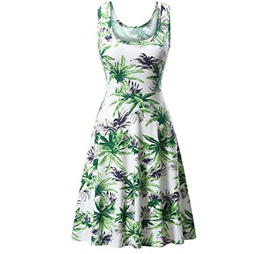 MRULIC Mädchen und Damen Prinzessin Kleid Sommer Ball Kleid Strand Sommerkleid(D-Grün,EU-42/CN-XL)