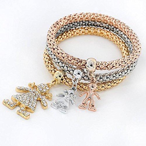 Armbänder für Damen, BBring 3pcs Charm Frauen Armband Gold Silber Rose Gold Strass Armreif Schmuck Set (B)