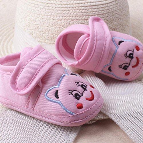 Babyschuhe Longra Baby Mädchen Jungen Soft Sole Cartoon Krippeschuhe Anti-Rutsch Stoff Schuhe Kleinkind Lauflernschuhe(0-18Monate) Pink