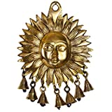 [Sponsored]Collectible India Brass Sun Design Wall Hanging With Bells Lord Surya Dev Home Door Decor Lucky Feng Shui Decorative Arts