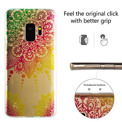 Glänzenden Pulver (Samsung Galaxy S9 Hülle, Galaxy S9 Schutzhülle,Alfort TPU Silikonhülle Glänzendes Pulver Schutzhülle Bunt Schutzhülle Cover für Samsung S9 (Bunter Mandala))
