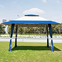 COSTWAY 4 x 4m Pop-Up Outdoor Gazebo, Waterproof Pavilion Canopy Tent with 2-Tier Roof, Carrying Bag, Large Marquee Shelter for Patio, Backyard, Garden, Event, Party 16