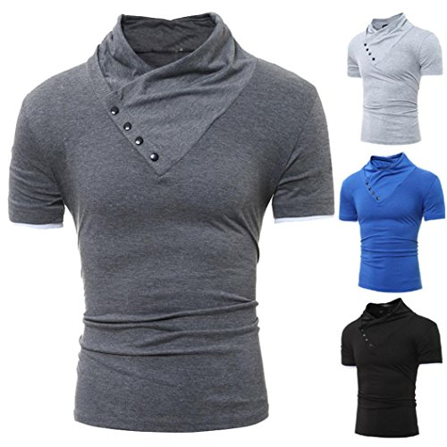 Chemisier Homme Casual Mince Solide à Manches Courtes T-Shirt Haut Malloom