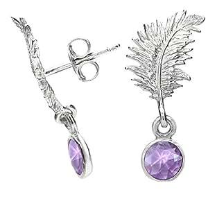 Dower & Hall Feather Sterling Silver Amethyst Bead Drop Stud Earrings