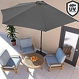 Deuba® Sonnenschirm • Ø 3m • mit Kurbel • halbrund • UV-Schutz 40+ • wasserabweisend • anthrazit - Terrassen Sonnenschirm Balkonsonnenschirm Terrassenschirm Balkonschirm