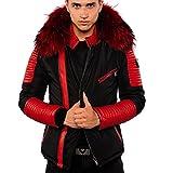 Ventiuno Ekos Veste Doudoune Bi-matière rouge fourrure véritable rouge  taille MAX - cuir d 520587b4d16