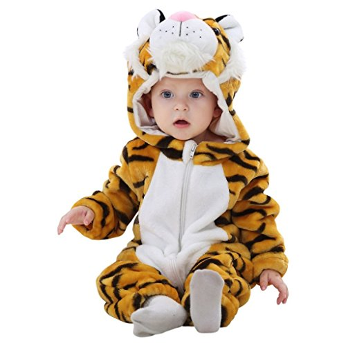 Tiger-Kostüm mit süßen Ohren und Raubtierschnauze Kapuze und Reißverschluss für ein bequemes Handling zum Fasching, Karneval, Kita-Fest (Tiger Baby Kostüm Für Halloween)