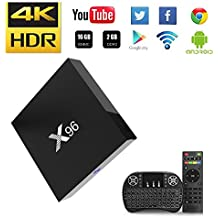 NBKMC-[2018 Dernière Version] 4K TV Box Android【2G + 16G】 Quad-Core Smart TV Box + Clavier sans Fil (Couleurs modifiables) Boîtier Intelligent et 64 Bits True 4K Play H.265 WiFi 2.4Ghz X96