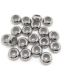 Tapón de cuentas de acero inoxidable, 20 unidades, tapón de silicona para pulsera y collar