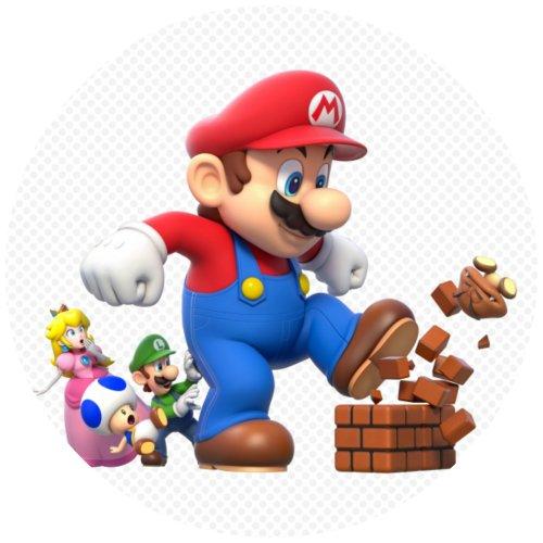 Tortenaufleger Tortenfoto Aufleger Foto Bild Super Mario Bros rund ca. 20 cm (2) ()