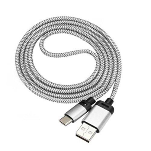"Type C Charging Cable, KEERADS 2M USB-C USB 3.1 Tipo C Conector macho para escribir un cable de datos macho para Nokia N1 Tablet,Oneplus 5 Five, Samsung Galaxy S8 / S8 Plus, ZTE Zmax Pro Z981,Chromebook Pixel 2015, MSI Gaming Notebooks,12"" Macbook Retina (Plata)"