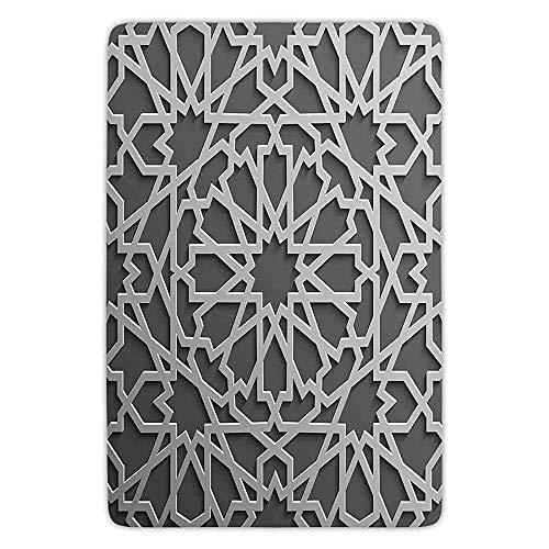 ewtretr Traditional House Decor Historic Moroccan Heraldic Empire Interlace Form with Mix of Star Flowers Grey Indoor Outdoor Mat Rug Soft Comfort Flannel Star Garage Door Opener