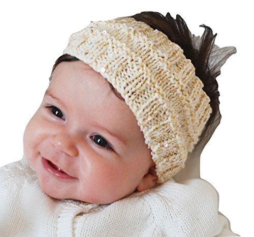 QueenMee Baby Haarband Baby Mädchen Baby Haarband Winter Hand gestrickt Baby Ohrenwärmer mit Baby Ohr Muff Baby-Baby Winter Wärmer Haarband aus Pailletten Garn Gr. Einheitsgröße, Gold -
