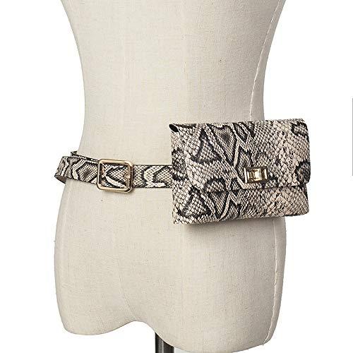 Rucksack Mode Wild Retro Schlange Muster Abnehmbare Gürtel Handytasche Dame Taschen Cool Wandern Rucksack Mode Hipster Schlange Muster Aprikose 105Cm -