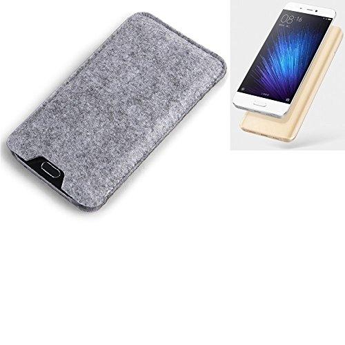K-S-Trade Filz Schutz Hülle für Xiaomi Mi 5 Schutzhülle Filztasche Filz Tasche Case Sleeve Handyhülle Filzhülle grau