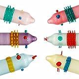 WBLIN Lots - 6 condones de látex para adultos, para masaje con puntos sensibles