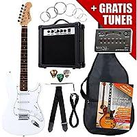 Rocktile ST Pack SET chitarra elettrica bianca con amplificatore, borsa, accordatore, cavo, tracolla