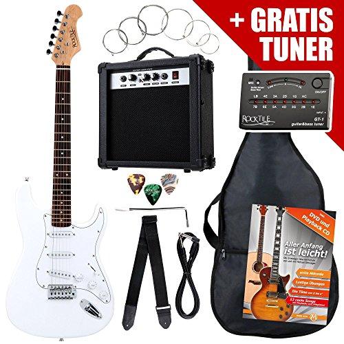 Rocktile ST-Pack Komplettset E-Gitarre Weiss (Verstärker, Stimmgerät, Tremolo, Tasche, Kabel, Gurt, Plecs, Ersatzsaiten und Schule mit CD/DVD)