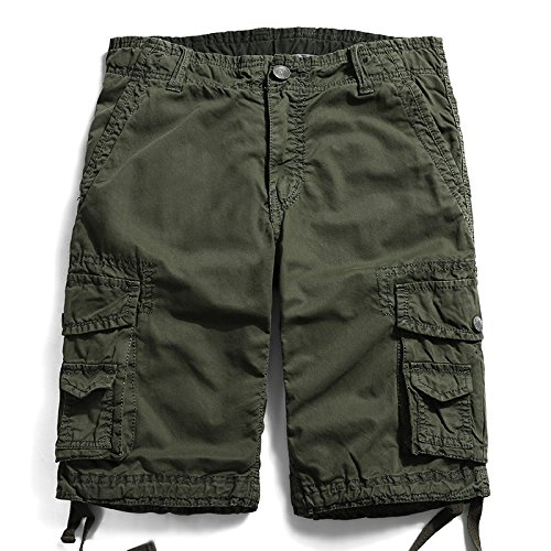 WDDGPZDK Strand Shorts/Style Männer Sommer Kurze Hosen Knie Länge Militär Cargo Shorts Camouflage Hose Multi Pocket Jogger 769, Army Green, 38 (Lange Mesh Pocket Shorts)