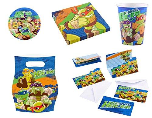 Teilen - TURTLES HEROES - ( Teller, Becher, Servietten, Einladungskarten, Mitgebseltüten ) + Parkscheibe (Mädchen Ninja Turtle Party)
