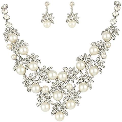 EVER FAITH Silver-Tone Cristallo Cream austriaca simulato foglio della perla cluster insieme dei monili Cancella A08667-1 - Perla Pendente Cluster