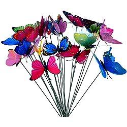 24 Stück Bunte Garten Schmetterlinge Libellen Patio Ornamente auf Stöcke für Pflanzendekoration, Outdoor Hof, Garten Dekoration