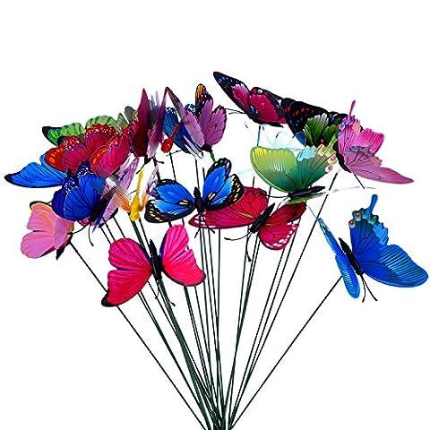 Outus 24 Pieces Colorful Garden Butterflies Dragonflies Patio Ornaments on Sticks for Plant Decoration, Outdoor Yard, Garden Decor