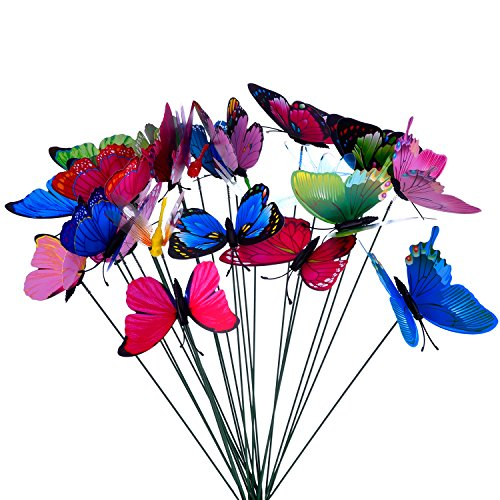 24 Parts Butterflies Colorful Dragonflies Garden Patio Ornaments in Sticks for Plant Decoration, Outdoor Yard, Garden Ornament