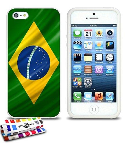 Ultraflache weiche Schutzhülle APPLE IPHONE 5S / IPHONE SE [Brasilien Flagge] [Schwarz] von MUZZANO + STIFT und MICROFASERTUCH MUZZANO® GRATIS - Das ULTIMATIVE, ELEGANTE UND LANGLEBIGE Schutz-Case für Weiss