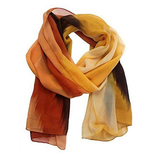 Distressed Weißen Handtuch Halter (Schal,WINWINTOM Frauen chinesischen Tinten-Art-Verpackungs-Dame-Schal Chiffon Schal Schals (Orange))