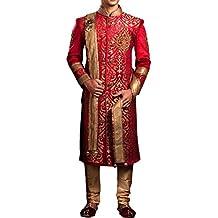 inmonarch Modern Rot Samt Hochzeit Sherwani sh3351