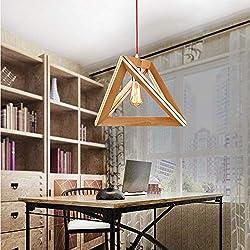 Cafe Kronleuchter Verstellbare Deckenleuchte, Nordic Minimalist Massivholz-Dreieck Restaurant Pendelleuchte, American Country Kreative Bar Cafe Dekoriert Holzleuchter (Size : 35cm)