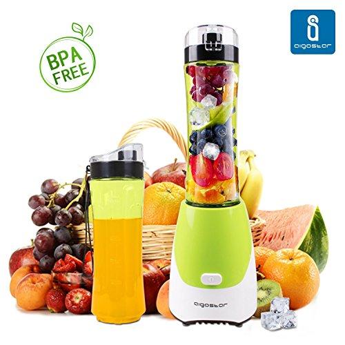 Aigostar Summer 30IWW - Batidora de vaso portátil para smoothies, batidos y picadora de frutas. Color verde. Libre de BPA. Potencia de 300W. Incluye 2 vasos de 600 ml de capacidad y 2 tapas.